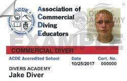 Commercial diving certification from the Association of Commercial Diving Educators