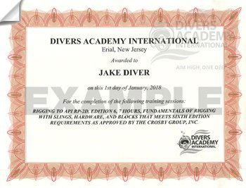 American Petroleum Institute Rigging RP-2D Commercial Diving Certification