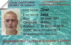 Unrestricted surface supplied air diver certification from DCBC