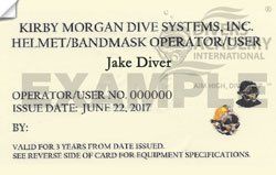Kirby Morgan Dive System Hat Inspector Certification card