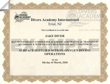 Nitrox Mixed Gas Diving Certification of Completion